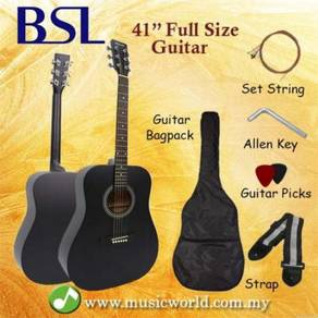 Bsl 41 inch black acoustic guitar full size guitar