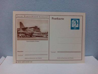 Vintage Germany Postal Card, Airport, Airplanes