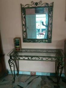 Console Table Rod Iron with glass mirror