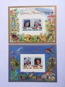 St lucia 1985 birthday queen mother um 2 ms bk637