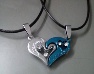 ABPSM-2L01 Silver Blue Couple CZ Pendant Necklace