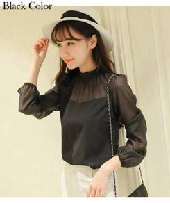 Long Sleeve T-Shirt Tops Blouses Black Blue