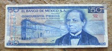 MEXICO 50 PESOS circulated fine
