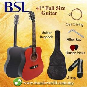 Bsl 41 inch red acoustic guitar full size guitar