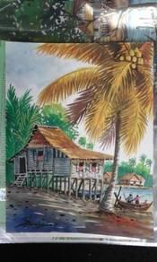Koleksi lukisan cat air Rumah Kampung A4