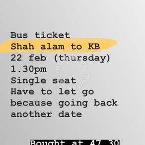 Ticket bus shah alam to kb