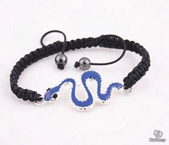 ABBSM-S006 Black Knitting Cord Blue Snake Bracelet