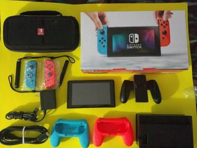 Nintendo Switch 32GB Gray Console with Neon Red an