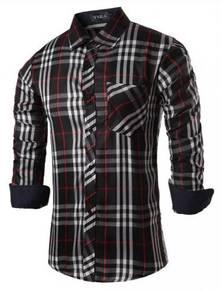 S70311 Kemeja Lengan Panjang Hitam Petak Shirt