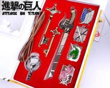 Attack on Titan badge keychain 7 in 1 set