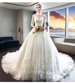 White long sleeve fishtail Wedding dress RB0899