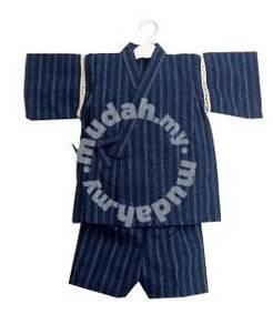 (WJ 0060)Tiny Striped Kids Kimono Set- Blue
