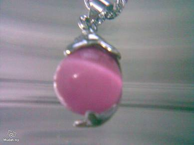 ABPSM-D050 Silver Dolphin Pink Cat's Eye Necklace