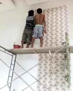 UPAH LABOUR PASANG WALLPAPER l kertas dinding