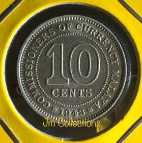 10 Cents MALAYA 1943 - 1pcs -aUNC