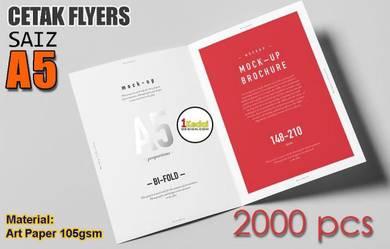 Tempah Cetak 2000 Helai A5 Flyers + 1 Lipatan