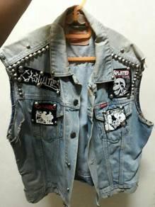 DIY punk jeans vest jacket
