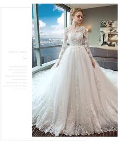 White fishtail Wedding dress RB0896 plus size