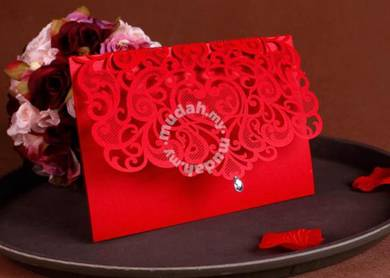 Red Laser Cut Wedding Card