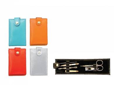 6 in 1 Manicure Set with colour Pu Button Casing