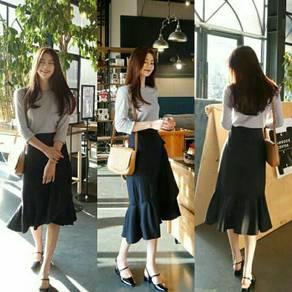 Stripe Wrap Midi Flounce Skirt (KR090232)