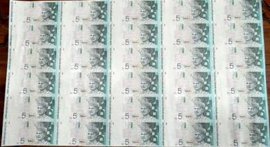 Rm 5 uncut notes ( 30 in 1 sheet )