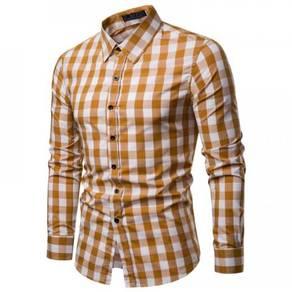 Men's Fashion Slim Plaid Design Collar Long Sleeve