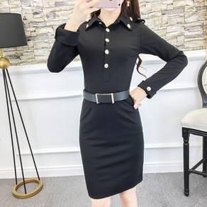 Half Placket Slimming Bodycon Shirt Dress