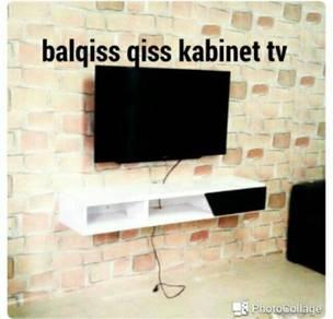Kabinet tv gantung dinding.rumah nampak kemas