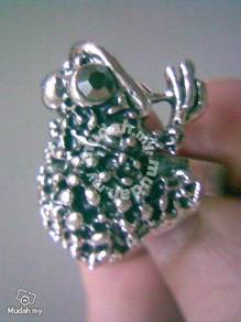 ABRSM-T008 Toad Style Silver Metal Ring Free Size