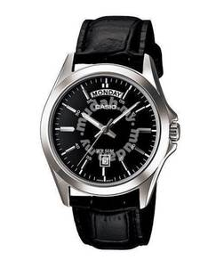 Watch- Casio Leather MTP1370 BLACK -ORIGINAL