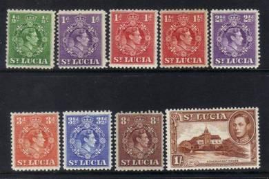 St lucia 1938 kgvi definitives m/m cat 12+bj487