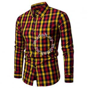 Men's Fashion Colorful Plaid Pattern Design Collar