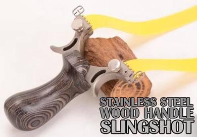 Stainless Steel Wood Slingshot | Lastik Outdoor