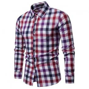 Men's Fashion Plaid Pattern Design Collar Long Sle