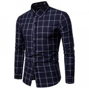 Men's Fashion Large Plaid Pattern Design Slim Long