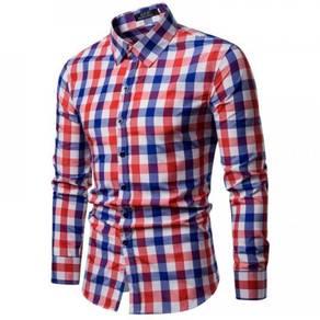 Korean Men's Fashion Plaid Design Slim Long Sleeve