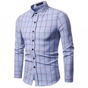 Men's Fashion Simple Plaid Pattern Design Slim Col