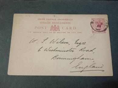 Postcard Straits Settlements ENGLAND 1894 PC 127