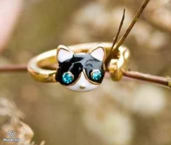 ABRGM-C003 Super Cute Unique Cat and Fish Ring