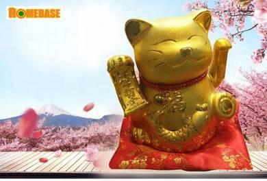 10 inch Maneki-Neko Lucky Cat - GOLD (SW257)