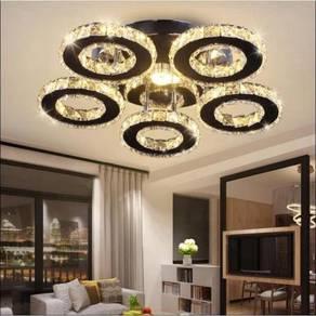 Moden Lampu Hiasan Siling LED Kristal 5 Cincin