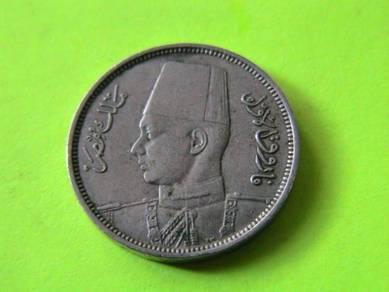 Egypt 2 Milliemes - Faruk 1938 (EF)