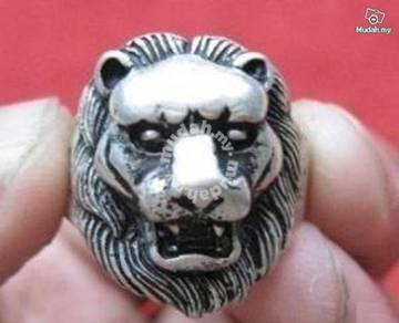 ABRSM-L001 Lion Face Head Silver Metal Ring - Sz 8