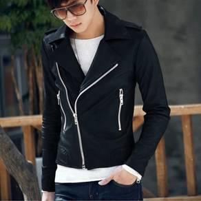 (0357) Korean Black Zipper Stylish Leather Jacket