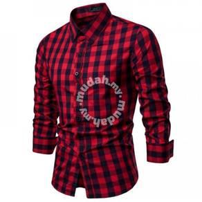 Men's Fashion Plaid Pattern Design Slim Collar Lon
