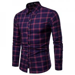 Men's Fashion Slim Cotton Plaid Design Long Sleeve