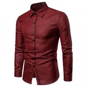 Men's Fashion Hot Stamping Plaid Design Slim Long