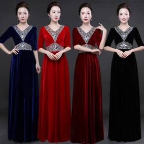 Velvet bridesmaid prom dress plus size RBP0328