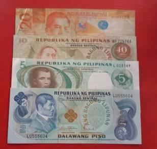 Republika Ng Pilipinas 2,5,10,20 Pesos (4 pcs)